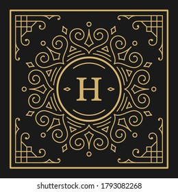 Vintage monogram alphabet letter H with decorative flourish ornament frame. Ancient capital letter monogram and filigree ornate border. Fancy victorian engraved initials vector symbol.