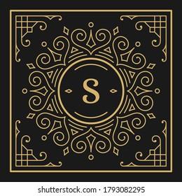 Vintage monogram alphabet letter S with decorative flourish ornament frame. Ancient capital letter monogram and filigree ornate border. Fancy victorian engraved initials vector symbol.