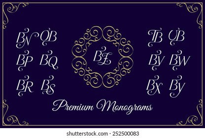 Vintage monogram design template with combinations of capital letters BN BO BP BQ BR BS BT BU BV BW BX BY BZ. Vector illustration.