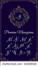 Vintage monogram design template with combinations of capital letters LA LB LC LD LE LF LG LH LI LJ LK LL LM. Vector illustration.