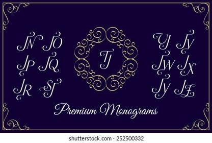 Vintage monogram design template with combinations of capital letters JN JO JP JQ JR JS JT JU JV JW JX JY JZ. Vector illustration.