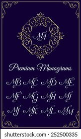 Vintage monogram design template with combinations of capital letters MA MB MC MD ME MF MG MH MI MJ MK ML MM. Vector illustration.