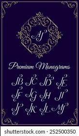 Vintage monogram design template with combinations of capital letters JA JB JC JD JE JF JG JH JI JJ JK JL JM. Vector illustration.