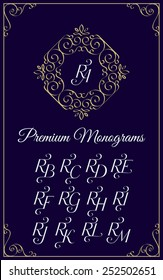Vintage monogram design template with combinations of capital letters RA RB RC RD RE RF RG RH RI RJ RK RL RM. Vector illustration.