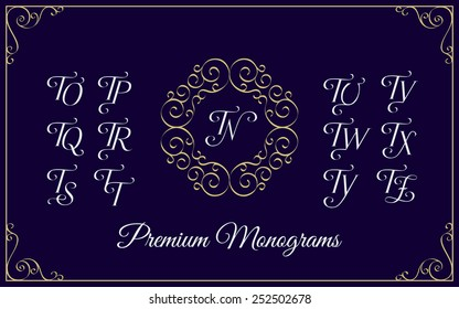 Vintage monogram design template with combinations of capital letters TN TO TP TQ TR TS TT TU TV TW TX TY TZ. Vector illustration.