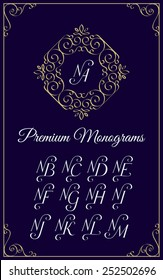 Vintage monogram design template with combinations of capital letters NA NB NC ND NE NF NG NH NI NJ NK NL NM. Vector illustration.