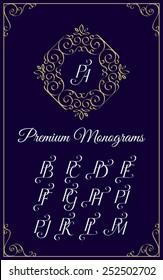 Vintage monogram design template with combinations of capital letters PA PB PC PD PE PF PG PH PI PJ PK PL PM. Vector illustration.