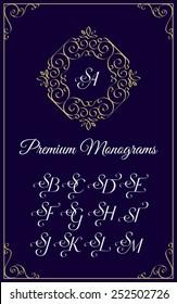 Vintage monogram design template with combinations of capital letters SA SB SC SD SE SF SG SH SI SJ SK SL SM. Vector illustration.
