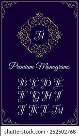 Vintage monogram design template with combinations of capital letters TA TB TC TD TE TF TG TH TI TJ TK TL TM. Vector illustration.