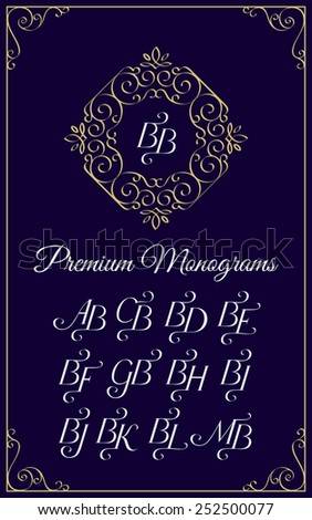 Vintage Monogram Design Template Combinations With Of Capital Letters Ba Bb Bc Bd Be Bf Bg