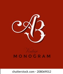 Vintage Monogram Emblem with Letters A and B