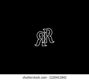 vintage monogram initial letter RR linear outline logotype