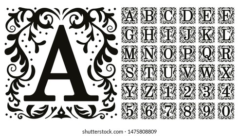 Vintage monogram letters. Decorative ornamental ancient capital letter, old alphabet monograms and filigree ornament font. Renaissance or victorian engraved initial abc. Isolated vector symbols set