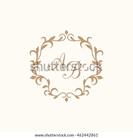 vintage monogram template stock vector royalty free 462442861