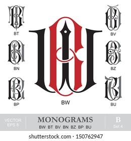 Vintage Monograms BW BT BV BN BZ BP BU