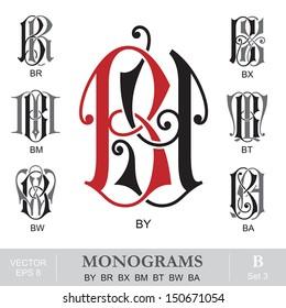Vintage Monograms BY BR BX BM BT BW BA