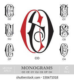 Vintage Monograms CO CE CY CU CS CP CH