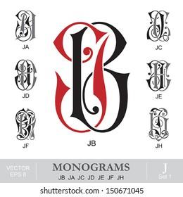 Vintage Monograms JB JA JC JD JE JF JH