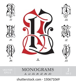 Vintage Monograms JL JJ JG JK JZ JN JO