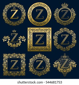 Vintage monograms set of Z letter. Golden heraldic logos in wreaths, round and square frames.