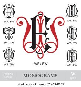 Vintage Monograms WE WF WH WT WY WS WR also can be EW FW HW TW YW SW RW