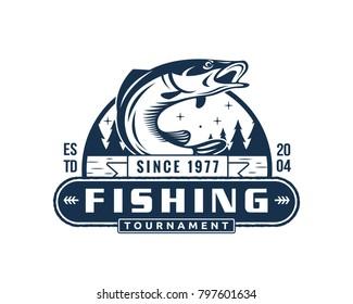 Vintage Monotone Summer Fishing Logo Badge Illustration