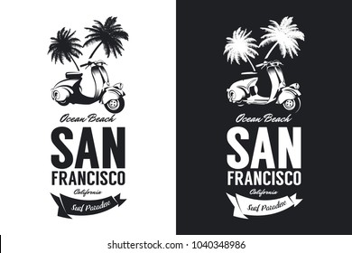 Vintage moped bikers club black and white isolated vector t-shirt logo. Premium quality scooter tee-shirt emblem illustration. San Francisco, California street wear retro hipster tee print design.