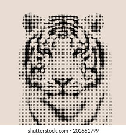 Vintage mosaic portrait of a bengal tiger. Wild beauty of the most dangerous and mighty beast.  Vector illustration.