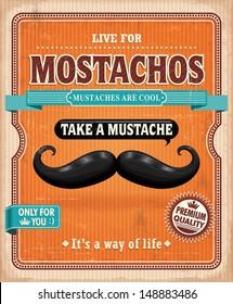 Vintage Mostachos, mustache poster design
