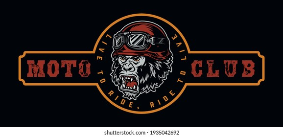 Vintage moto club colorful label with aggressive gorilla head in biker helmet and goggles isolated vector illustration