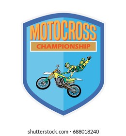 vintage motocross rider badge logo design vector illustration