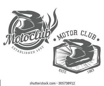Vintage motor club motocycle labels, badges with moto slam, vector illustration