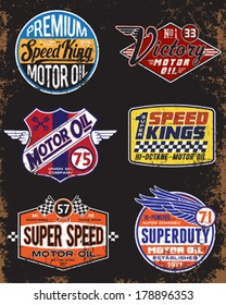 Vintage Motor Oil Signs and Label Set