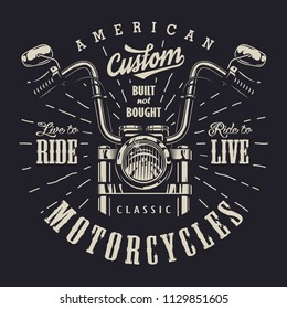 Vintage motorbike monochrome logotype with motorcycle front view and letterings isolated vector illustration