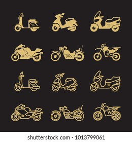 Vintage motorbike and motorcycle icons set isolated on black background. Vector illustration