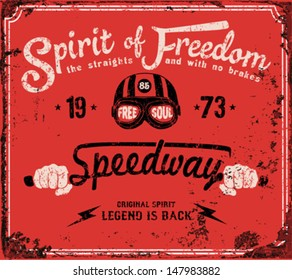 Vintage Motorbike Race | Hand drawing | T-shirt Printing | Badge Applique Label