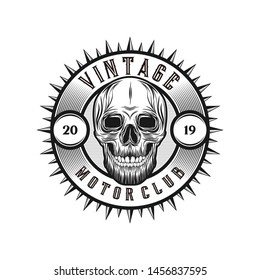 Vintage motorclub with skull element