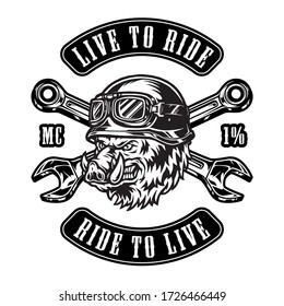 Vintage motorcycle badge with crossed wrenches letterings and aggressive wild boar head in biker helmet and goggles on white background isolated vector illustration
