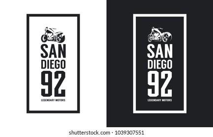 Vintage motorcycle black and white isolated vector logo. Premium quality biker gang logotype tee-shirt emblem illustration. San Diego, California street wear hipster retro tee print design.
