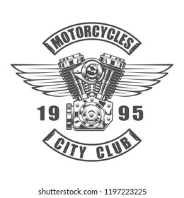 Vintage motorcycle club emblem in monochrome style isolated vector illustration