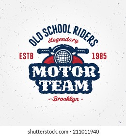 Vintage motorcycle club garage or contest apparel design, retro symbol (grunge texture is easy removable from separate layer)
