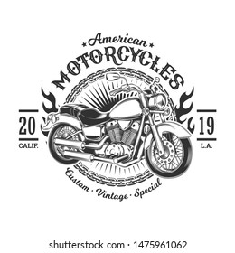 Vintage Motorcycle Graphic  Element - T-shirt Graphic For Riders
