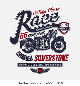 Vintage motorcycle graphic for T-Shirt / Vector artwork