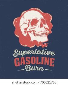 Vintage motorcycle graphics. Motorcycle emblem. Monochrome skull. Vector illustration