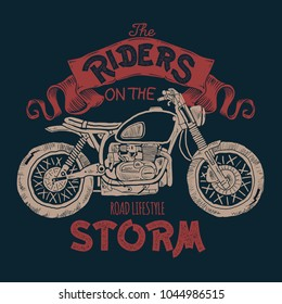 Vintage Motorcycle hand drawn t-shirt print