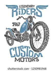 Vintage Motorcycle hand drawn vector t-shirt print design.