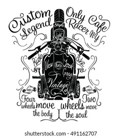 retro cafe racer images stock photos vectors shutterstock Honda Cafe Racer Girl vintage motorcycle hand drawn vector