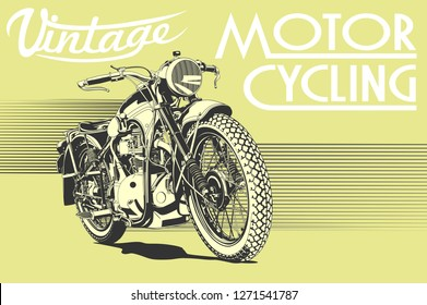 vintage motorcycle illustration art