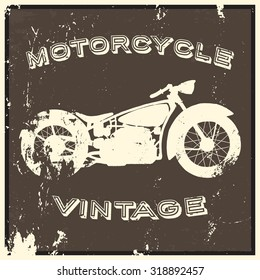Vintage motorcycle label. Isolated object, grunge effect.