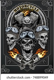 vintage motorcycle label with skulls